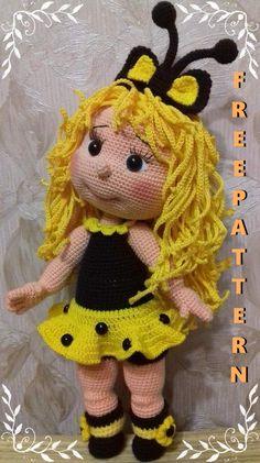 Crochet Bee, Crochet Doll Pattern, Crochet Patterns Amigurumi, Cute Crochet, Amigurumi Doll, Amigurumi Tutorial, Knitted Dolls, Crochet Dolls, Doll Patterns