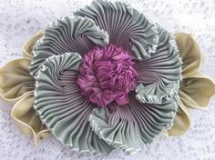 French Ombre Victorian Style Millinery Ribbon work Flower Pin, Wedding, Sash Flower, Hat, SALE this week only