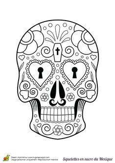 Une tête de mort avec des serrures en forme de cœurs à la place des yeux, à colorier.