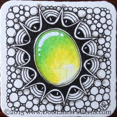 https://flic.kr/p/BK7w2Y | 20151227_Bijou_ZenGems13 | ZenGems on a Bijou tile. Derwent Inktense pencils, Sakura Micron.