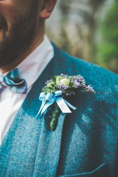 Buttonhole Groom Blue Ribbon Colourful Home Made Spring Country Wedding http://www.racheljoycephotography.co.uk/