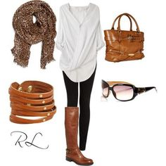 fall fashion really like the white top with the black leggings and brown boots