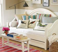 Cute pillows and bench coffee table