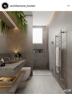Luxury Bathroom Ideas is enormously important for your home. Whether you pick the Luxury Bathroom Master Baths Dark Wood or Luxury Bathroom Master Baths Log Cabins, you will create the best Bathroom Ideas Master Home Decor for your own life. Bathroom Layout, Modern Bathroom Design, Bathroom Interior Design, Modern Interior, Modern Design, Toilet And Bathroom Design, Tile Layout, Concrete Bathroom, Bathroom Plants