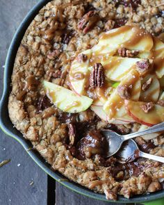 Oatmeal Chocolate Chunk Salted Coffee Caramel Apple Skillet Cookie