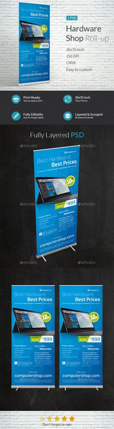 Computer Hardware Shop Roll-up Template PSD. Download here: http://graphicriver.net/item/computer-hardware-shop-rollup-template/16570311?ref=ksioks