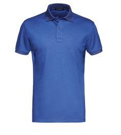 Zegna Indigo Tonal-Collar Cotton Polo