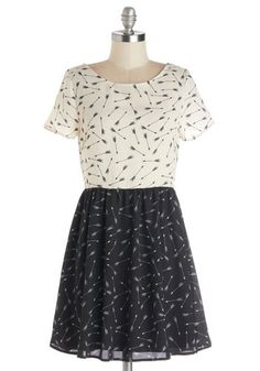 Arrow Dynamic Dress - Chiffon, Sheer, Woven, Short, Black, White, Novelty Print, Casual, A-line, Short Sleeves, Better, Scoop