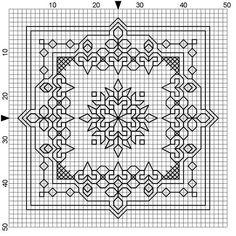 "Cross Stitch Patterns ""Blackwork Design"" / from website Wyrdbyrd's Nest. Blackwork Cross Stitch, Biscornu Cross Stitch, Blackwork Embroidery, Cross Stitch Charts, Cross Stitching, Cross Stitch Embroidery, Embroidery Patterns, Cross Stitch Patterns, Blackwork Patterns"