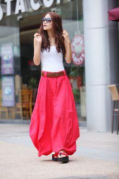 Etsy-Romantic Watermelon Red Pretty Linen Bud Long Maxi Skirt - NC340