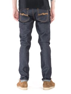 Wide range of jeans in dry, black and prewashed, rigid, selvage and stretch denim. Buy denim jeans at the Nudie Jeans Online Shop.