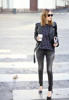 Break up your grey denim and black leather jacket staples with a navy pinstriped sweater