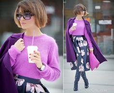 Purple Vibes! (by Galant-Girl Ellena) SKIRT - SHEINSIDE FOR MORE: http://galantgirl.com/en/floral-midi-skirt-outfit-eng/