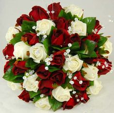 red roses wedding bouquet | Bouquet - Bridal Bouquets - Handtied Posies - Silk Red & Ivory Rose ...