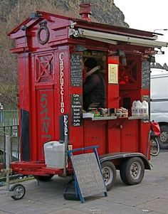 Edinburgh Police Box converted into coffee hut.  It's a Mocha Tardis.<-- pinning for this comment.