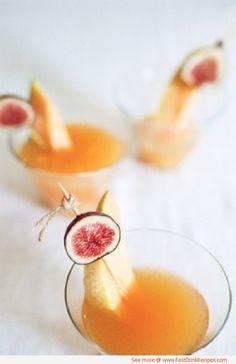 Fig & Melon Martini. Fig and Vanilla Infused Vodka, Cantaloupe Pureé, Cointreau, Lemon Juice, Maple Syrup.