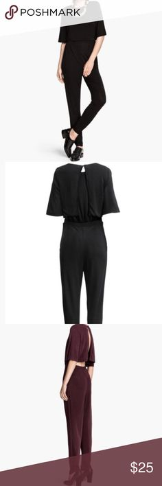 H&M Jumpsuit Used short-sleeved jumpsuit in jersey with a slight sheen. Elasticized waistband, open back with button at back of neck, and tapered legs with elastication at sides of hems. Side pockets. Unlined. Size: 6                                                    Color: black / Condition: good. H&M Other