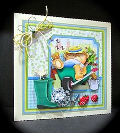 BEER BEAR IN WHEELBARROW 8x8 Mini Kit Ages Decoupage on Craftsuprint designed by Janet Briggs - made by Cynthia Massey