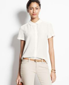 Silk Short Sleeve Blouse | Ann Taylor