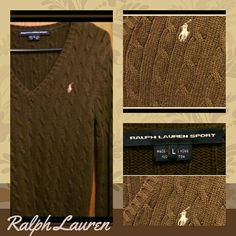 Ralph Lauren Cable knit Brown V-neck sweater A beautiful Ralph Lauren cable knit Brown sweater with Khaki Logo. V-neck size large,  lightly worn , Ralph Lauren Sweaters V-Necks