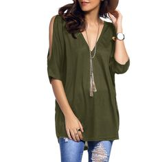 Cold Shoulder Asymmetrical Low Cut V Neck Tee (17 BAM) ❤ liked on Polyvore featuring tops, t-shirts, green v neck t shirt, cold shoulder tee, low cut v neck t shirts, low cut t shirt and green t shirt