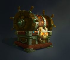 na Kalinicheva : Piracy chest by Svetlana Kalinicheva on ArtStation. Prop Design, Game Design, Game Concept, Concept Art, Steampunk Fairy, Magic Bottles, 2d Game Art, Digital Sculpting, Game Props