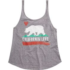 Billabong Women's Cali Bear Original Tank ($23) ❤ liked on Polyvore featuring tops, dark athletic grey, t-shirt/prints, scoop neck top, gray tank top, scoop neck tank, billabong tank top and print tank