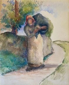 View Porteuse De Fagots By Camille Pissarro; Watercolor on paper; 8 x 5 in; Access more artwork lots and estimated & realized auction prices on MutualArt. Pissaro Paintings, Camille Pissarro Paintings, Paul Gauguin, Impressionist Paintings, African American Art, Still Life Photography, Wedding Photography, Watercolor Portraits, Henri Matisse