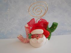 "Polymer Clay Santa ""JOY"" PHOTO/CARD Holder - pinned by pin4etsy.com"