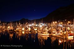 Kodiak Boat Harbor at Night. All to familiar... Reminds me of dropping my love off to work... for weeks