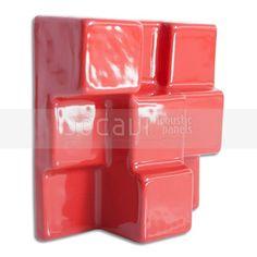 "Jocavi 16SQA015R 15 x 15 x 6 cm ""Squarydiffusor"" Diffuser Acoustic Tile - Red…"