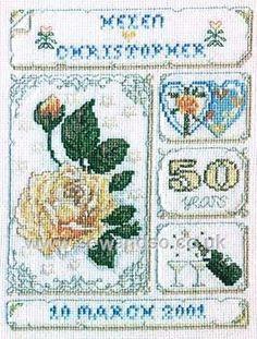 Golden Wedding Anniversary Cross Stitch Kit