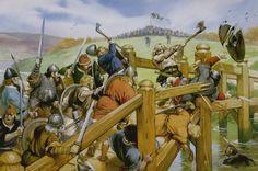 Vikings fight Saxons at the battle of Stamford Bridge (september 25, 1066)