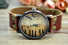 PianoHigh notesWomen wrist watchGenuine leather by GiftShow, $12.99 Simple personality vintage leather watch,best gift of friendship.