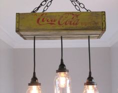 Coca Cola Chandelier/Ceiling Light with Mason Jars- Yellow- Mason Jar Lighting, Rustic Lighting, Vintage Coca Cola, Mason Jar Decor, Rustic