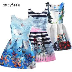 1879f73ad26c 2017 Summer Style Sleeveless Mother&kids Dress Girl Dress Printed Kids  Dresses Girls Clothes Party Princess Dress