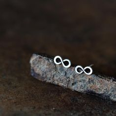 Tiny Infinity Earrings, Small modern everyday studs