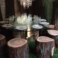 Log table and chairs:  rustic and elegant