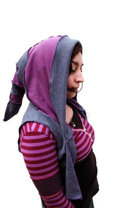 Purple  and Blue Hooded Pixie Vest  Recycled by ScrapunzelPixie, $30.00