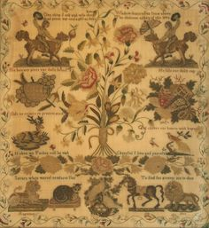 Mid-19th Century fine needlework sampler, worked by 'S.D., August 16 1833'