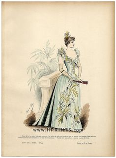 L'Art et la Mode 1890 N°44 Marie de Solar, colored fashion lithograph, Ball Gown