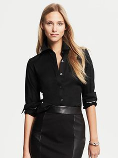 Fitted Non-Iron Sateen Shirt Black, petite | Banana Republic