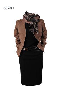 Bruin leren jas over zwart jurkje Over 60 Fashion, 50 Fashion, Work Fashion, Fashion Looks, Fashion Outfits, Womens Fashion, Latest Fashion, Mode Outfits, Chic Outfits
