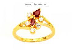 22K Gold Women's Ring With Ruby & Cz: Totaram Jewelers: Buy Indian Gold jewelry & 18K Diamond jewelry