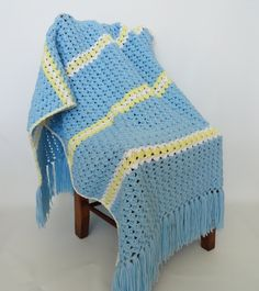 Crochet Baby Blanket Afghan Stripe Shell by KnitKnacksCreations