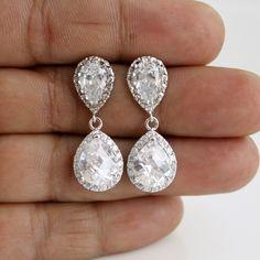 Wedding Jewelry Bridal Earrings Silver Clear by poetryjewelry, $40.00
