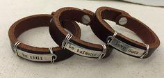 Women's Bracelets, Women's Leather Bracelets, Leather Cuff, Leather Cuff Bracelets, Stamped Bracelet, Statement bracelet by JuniperVale on Etsy https://www.etsy.com/listing/257549854/womens-bracelets-womens-leather