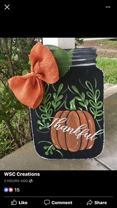 Dollar Tree Mason Jars, Fall Mason Jars, Mason Jar Crafts, Fall Door Hangers, Burlap Door Hangers, Wooden Hangers, Fence Signs, Door Signs, Thanksgiving Crafts