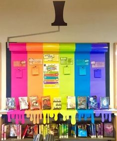classroom decor 20 Rainbow Bulletin Boards for a Colorful Classroom - WeAreTeachers Rainbow Bulletin Boards, Classroom Bulletin Boards, New Classroom, Classroom Design, Classroom Themes, Colorful Bulletin Boards, Book Bulletin Board, Creative Bulletin Boards, Kindergarten Bulletin Boards