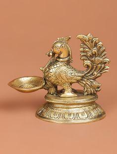 Brass Bird Oil Lamp x x Home Decor Copper, Silver Pooja Items, India Home Decor, Gold Temple Jewellery, Brass Lamp, Silver Lamp, Hindu Statues, Pooja Room Door Design, Antique Oil Lamps